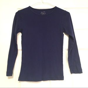 Poof! Girls size L Long Sleeve Navy Ribbed Tee